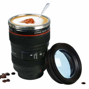 400ml Stainless Steel Camera Lens Mug With Lid - Mugs