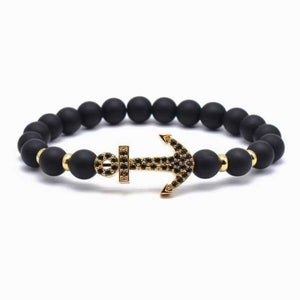 Anchor Lava Bead Bracelet - Gold / 18cm