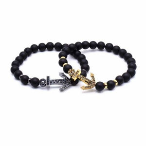 Anchor Lava Bead Bracelet