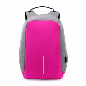 Anti-Theft USB Charging Backpack - pink - Backpacks