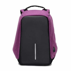 Anti-Theft USB Charging Backpack - purple - Backpacks