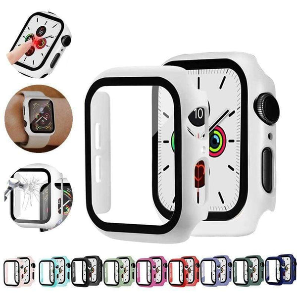 Watch Cover Case for Apple Watch 5/4 40MM/44MM PC Bumper with Glass Protector Film for iwatch Series 3/2 38 42MM accessories|Watch Cases -