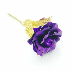 Beautiful Gold Plated Rose - Artificial & Dried Flowers - Purple - beautiful-gold-plated-rose