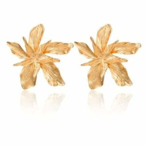 Big Flower Earring for Women - Drop Earrings - Gold - docona-elegance-silver-gold-big-drop-dangle-earring-for-women