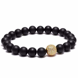 Black beaded bracelet Zircon Ball - Gold