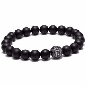 Black beaded bracelet Zircon Ball - Black