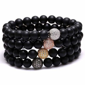 Black beaded bracelet Zircon Ball