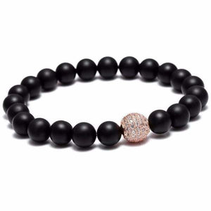 Black beaded bracelet Zircon Ball - Rose Gold