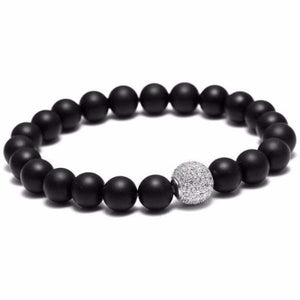 Black beaded bracelet Zircon Ball - Silver