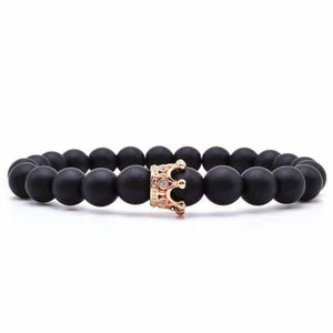 BLack Matte Stone Bracelet With Zirconia Crown Options - Rose Gold