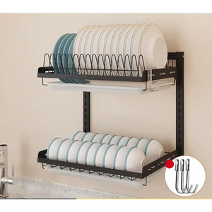 Black Stainless Steel Wall Hanging Dish Rack - A - Racks & Holders