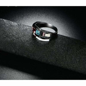 Blue and Red Crystal Ring