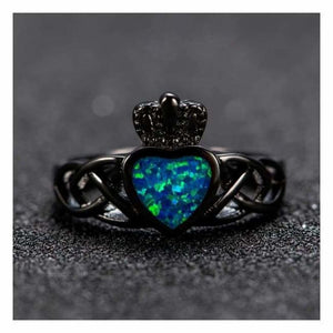 Blue Fire Opal Ocean Ring - Engagement Rings