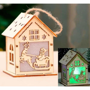 Christmas Decoration Gifts - Pendant & Drop Ornaments - LED Light Wooden House-1 - christmas-decoration-ornament