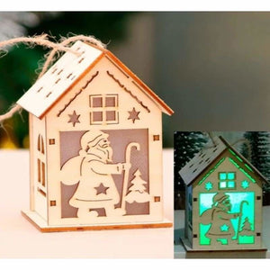 Christmas Decoration Gifts - Pendant & Drop Ornaments - LED Light Wooden House-2 - christmas-decoration-ornament