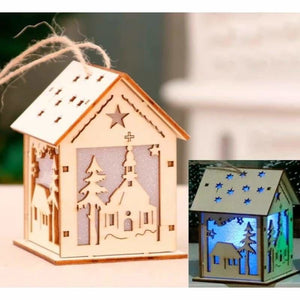Christmas Decoration Gifts - Pendant & Drop Ornaments - LED Light Wooden House-3 - christmas-decoration-ornament