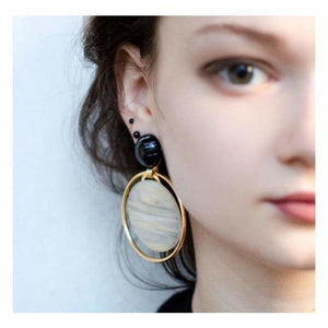 Circular Geometric Earrings - Drop Earrings - plank-resin-earrings