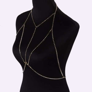 Crystal Bra Necklace - Gold