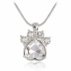 Crystal Paw Birthstone Necklace - April - Pendant Necklaces