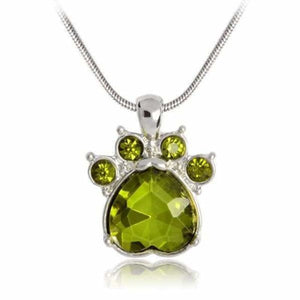 Crystal Paw Birthstone Necklace - August - Pendant Necklaces