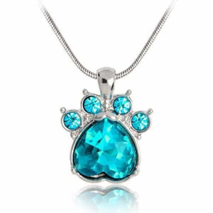 Crystal Paw Birthstone Necklace - December - Pendant Necklaces