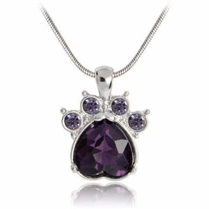 Crystal Paw Birthstone Necklace - February - Pendant Necklaces
