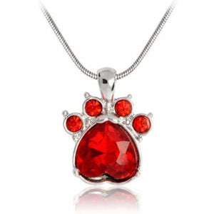 Crystal Paw Birthstone Necklace - January - Pendant Necklaces