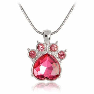 Crystal Paw Birthstone Necklace - July - Pendant Necklaces