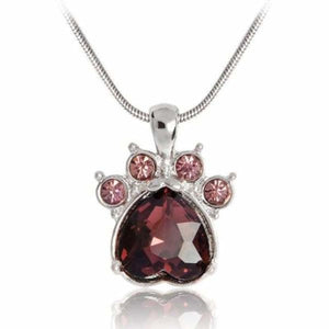 Crystal Paw Birthstone Necklace - June - Pendant Necklaces