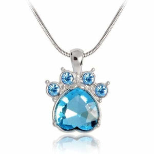 Crystal Paw Birthstone Necklace - March - Pendant Necklaces