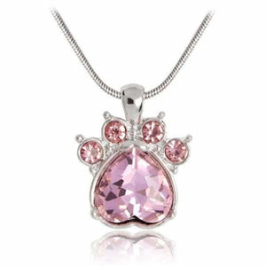 Crystal Paw Birthstone Necklace - October - Pendant Necklaces