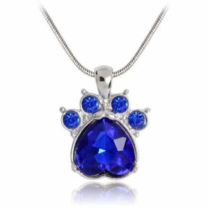 Crystal Paw Birthstone Necklace - September - Pendant Necklaces