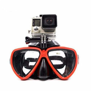 Diving Mask Camera Mount - Red - Sports Camcorder Cases