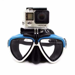 Diving Mask Camera Mount - White Blue Mix - Sports Camcorder Cases