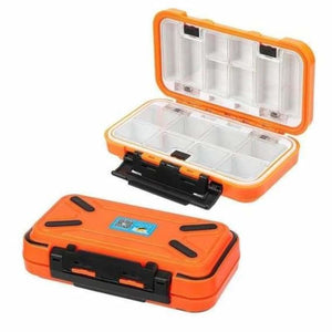 Double sided waterproof fishing tackle lure box - fishing tackle boxes - m 16 grids orange - waterproof-double-sided-fishing-tackle-box