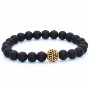 Globe CZ With Black Matte Stone Beads - Matte Gold