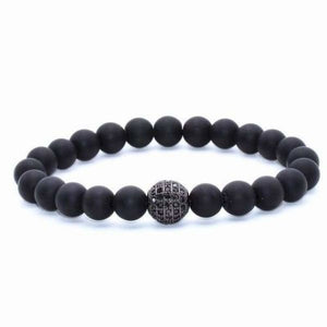 Globe CZ With Black Matte Stone Beads - Matte Black