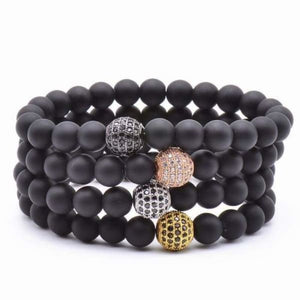 Globe CZ With Black Matte Stone Beads