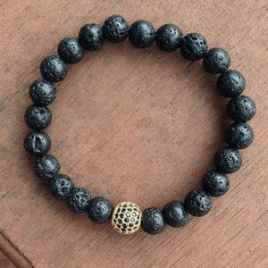 Globe CZ With Black Matte Stone Beads - Lava Gold
