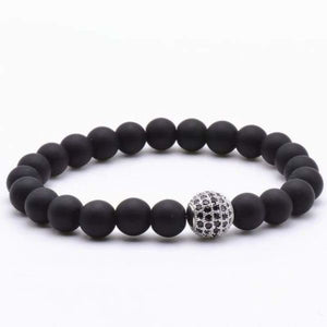 Globe CZ With Black Matte Stone Beads - Matte Silver