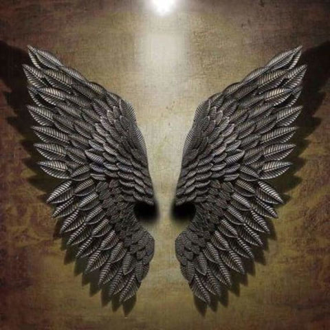 Hanging iron angel wing wall decoration - decorative boards - n - hanging-iron-angel-wing-wall-decoration