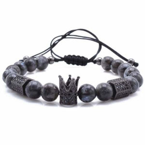 Imperial Crown & Hexagon Bracelets With Natural Stone Collection - Black