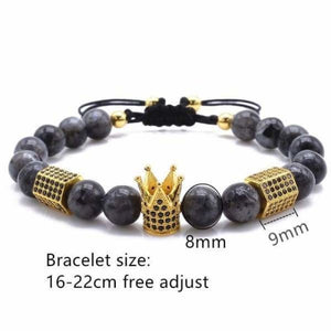 Imperial Crown & Hexagon Bracelets With Natural Stone Collection