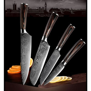 Japanese Chef Knife Set - Stainless Steel Blades - 4PCS - Knife Sets