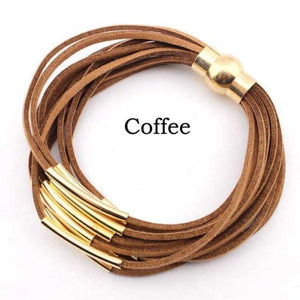 Layered Gold & Silver Tube Bracelets - Gold Coffee