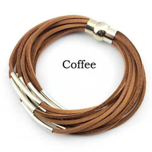 Layered Gold & Silver Tube Bracelets - Silver Coffee