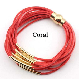 Layered Gold & Silver Tube Bracelets - Gold Coral
