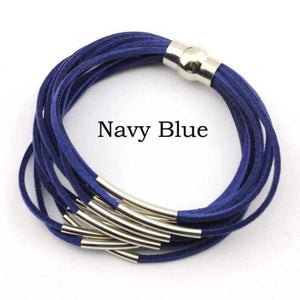 Layered Gold & Silver Tube Bracelets - Silver Navy Blue