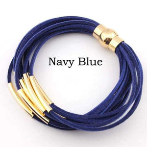 Layered Gold & Silver Tube Bracelets - Gold Navy Blue