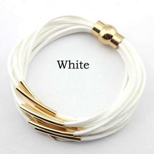 Layered Gold & Silver Tube Bracelets - Gold White